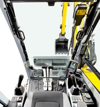 Cabine, visibilité et confort de manoeuvre de la mini-pelle EW65 de Wacker Neuson, Tony-Mat pelles et matériel btp Bretagne Morbihan
