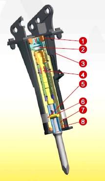 Schéma du marteau hydraulique NE6 équipant la mini pelle 803 de Wacker Neuson, Tony-Mat matériel btp Bretagne 56 Morbihan.