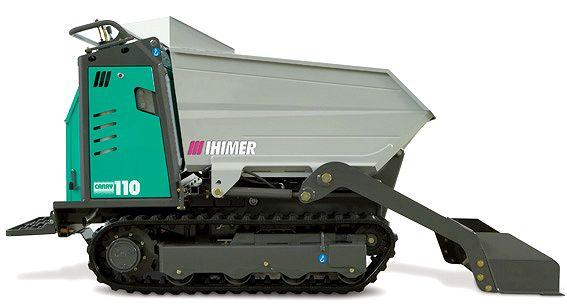 Le mini-transporteur CARRY 110 C de IMER avec sa benne et sa pelle chargeuse.