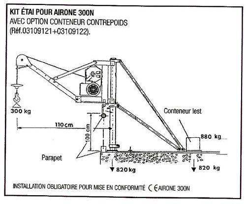 Éiai d'extérieur pour treuils IMER AIRONE 300 N avec conteneur contrepoids.