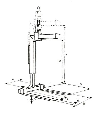 Schéma et mesures du lève-palettes IMER MBR - 15M
