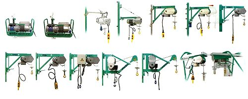 Gamme IMER des treuils de levage d'une capacité de charge s'étendant de 60 à 500 kg.